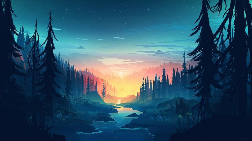 日落的森林